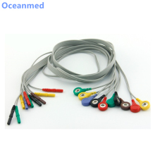 Brand New Din 1.5mm Safety 10 Leads ECG Holter Cable Snap Leadwires