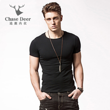 2017 Men T-Shirt Chase Deer Solid Cotton Brand Clothing Fitness Elistic Bodybuilding Tshirt Homme Undershirt Tees T Shirt Men