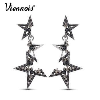 Viennois moda joyería de plata de la vendimia de largo cuelga los pendientes para mujer rhinestone estrella pendientes punk accesorios de moda
