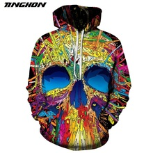 TINGHON Men Women 3D Sweatshirts Vacuum Cleaner Skull Printed Hoodies Novelty Pullover Casual Tracksuits Harajuku Outwear S-6XL(China)