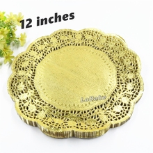 (100 pieces/pack) New arrivals 12 inches gold colored round paper lace doilies cupcake bread placemats home dinner tableware