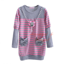 Pettigirl New Design Girl Stripe Dress Long Sleeve with Pocket Warm Baby Clothes With Pearl Decoration GD30722-142(China)
