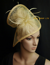 2017 NEW 20 colors Champagne/yellow sinamay fascinator hat with feather for wedding.