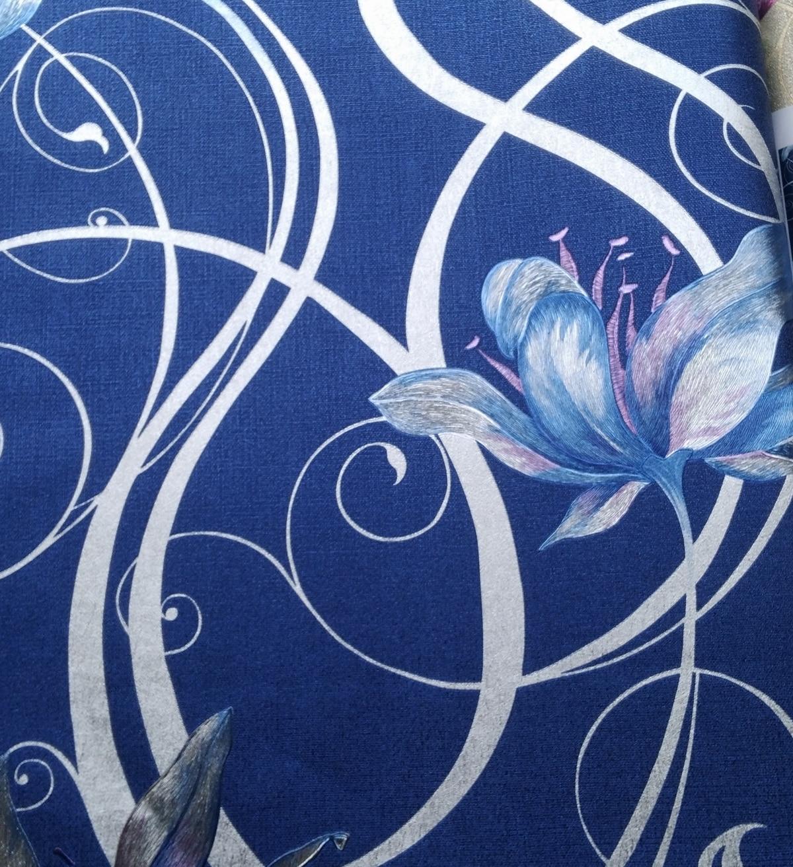 5color Modern Living Room Wallpaper Background Flower Light Gray Blue Flower Wallpaper European-style Embossed 3d Wallpaper Roll<br>