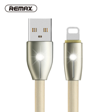 REMAX lighting USB data cable 2.1A 1M TPE flat glitter fast cable with breathe LED USB Charger cable for iphone5/6/7s/plus/ipad