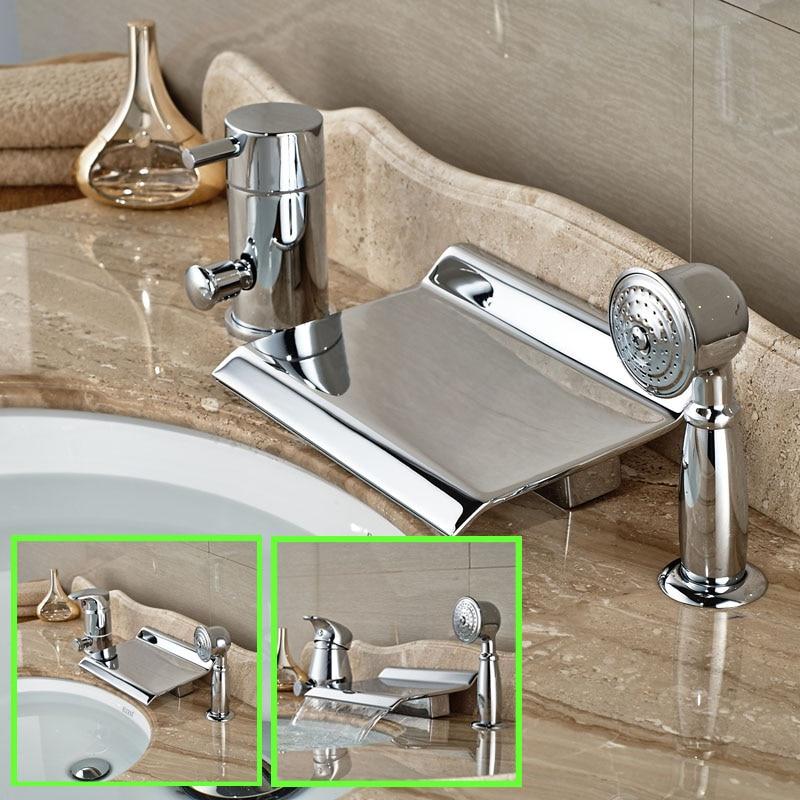 Deck Mount Widespread Waterfall Bath Tub Faucet Set 3pcs Brass Chrome Bathtub Mixer Tap + Handshower<br><br>Aliexpress