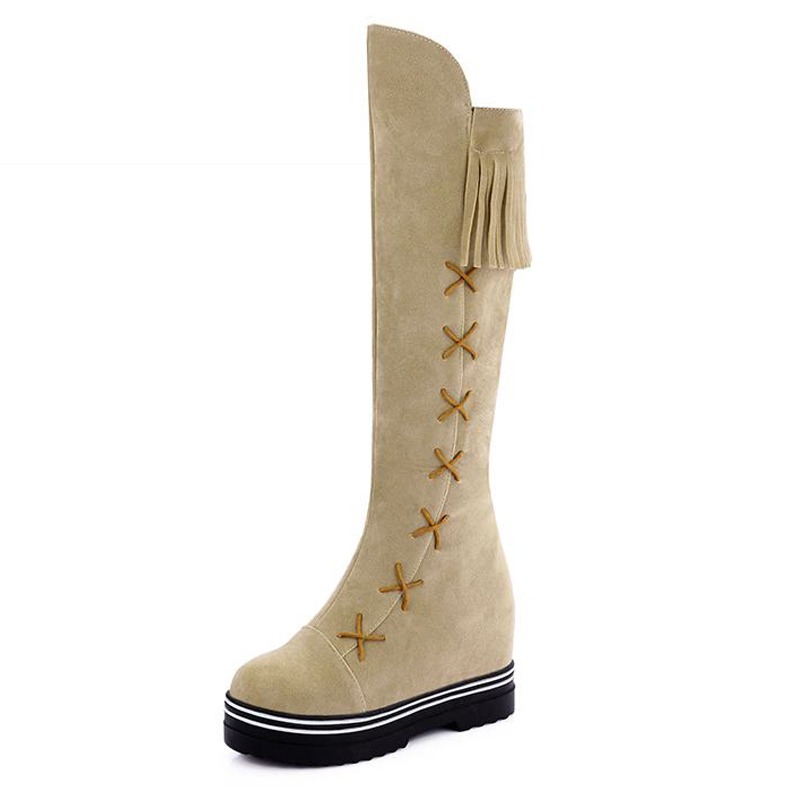 Big Size 34-43 Flat Sole Charming Women Tassel Knee Boots Height Increasing Platform Women Shoes Cozy Add Fur Fall Winter Boots<br><br>Aliexpress