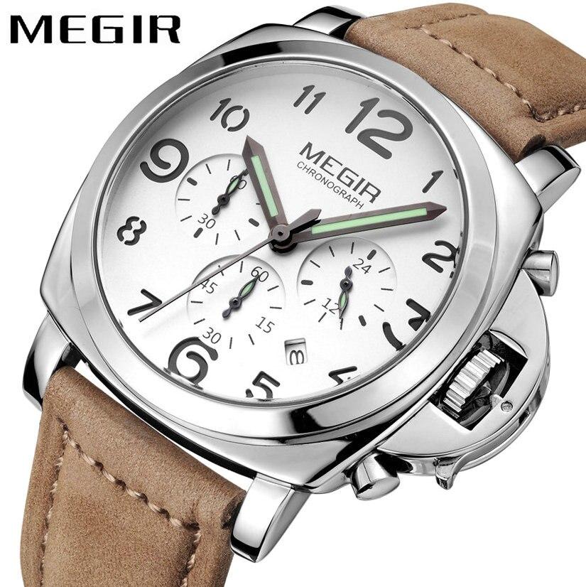 MEGIR Business Classic Men Quartz Watch Nubuck Leather Strap Square Case 24H Date Display Fashion Waterproof Wristwatch<br>