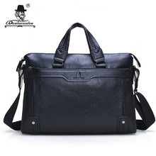 "DIOULAORENTOU 14"" Men Leather Briefcase Vintage Laptop Briefcases Black Split Leather Computer Bag Shoulder Bag Mens Handbags"