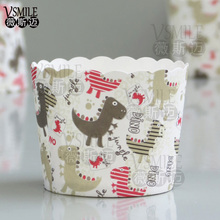 50pcs Cute Animals Dinosaur Monkey Panda Cats Dog paper Baking Cupcake cup for Birthday Wedding New Year party Event Supplies
