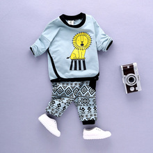 2017 Sale Infantis Childrens Spring Autumn Cotton Boys Tops And Tees Long Sleeve T Shirt +pants 2pc/set kids Clothes 1-3year