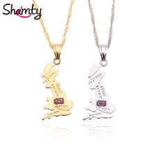 Shamty UK Britain Map National Flag Pendants Necklace Pure Gold Color Silver Color Unisex Personalized London Jewelry Gift