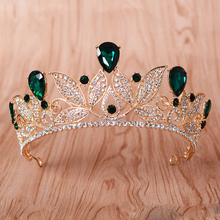 Hot Selling Vintage Green Crystal Tiara Women Wedding Headpiece Bridal Diadem Gold Crown Bride Hair Accessories Wholesale HG215(China)