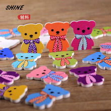 Wood Sewing Buttons Scrapbooking Bear Multicolor Mixed Two Holes Cartoon 30 x 21mm 12PCs Costura Botones Decorate bottoni botoes(China)