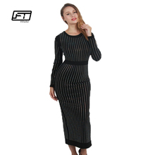 Buy Spring Long Sleeve Slim Sexy Evening Party Dresses Women Fashion Shining Diamond Vintage Dress 2017 Black Long Robe Dress for $30.25 in AliExpress store