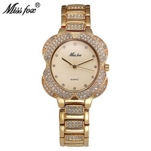 Miss Fox Flower Womens Watches Women Fashion Watch 2017 Golden Clock Charms Diamond Gold Quartz Watch Relogio Feminino Dourado(China)