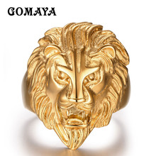 GOMAYA Male Rings Gold Lion Power Punk Style Cool Jewelry for Men Biker Gothic Punk Biker Halloween Gift Anillos Bague(China)