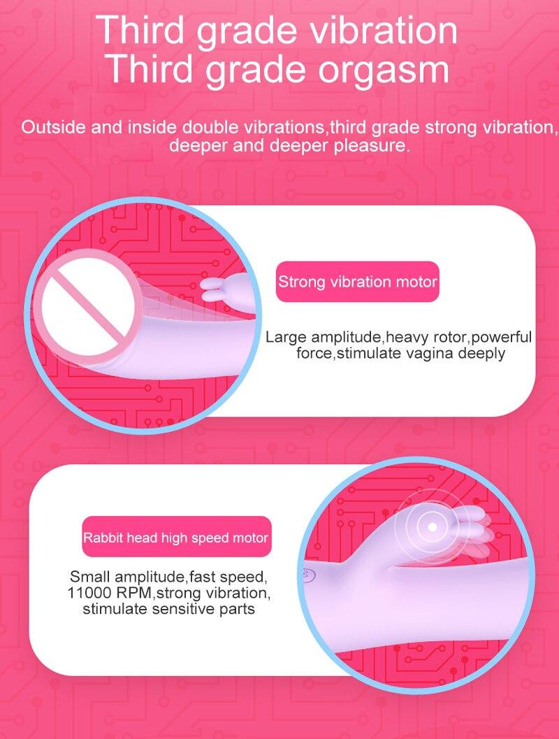 Leten Rabbit Magic AV Wand Vibrator USB Rechargeable Female Masturbation Massager Dual Vibration Sex Toys for Woman