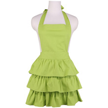 Neoviva Thick Canvas Apron for Hostess with Vintage Ruffles, Plus Size, Style Susan, Solid Green Glow
