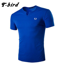 T-Bird New Fashion 2017 Brand Male T Shirt Embroidered V-Collar T-Shirt Men Funny Summer Tee Short Sleeves Mens Casual Tshirt B8