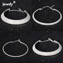 Wedding Bridal Jewelry 1 2 3 4 5 Row Rhinestone Crystal Choker Silver Plated Necklace for Women Gift