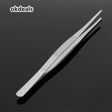 NEW Usefu l30cm/12'' Long Stainless Steel Computer Kits Food Tongs Straight Tweezers Kitchen Tool Silver HOT(China)