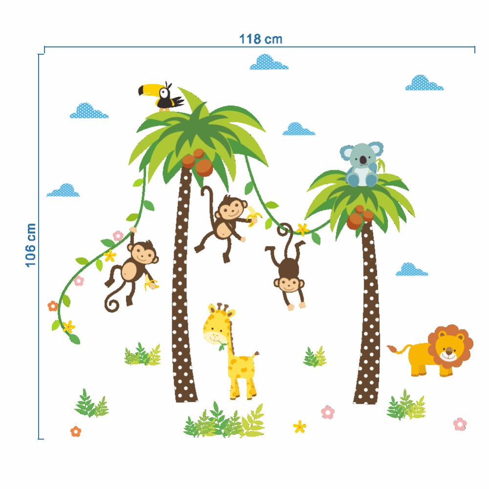 HTB1MU64exOMSKJjSZFlq6xqQFXar - Forest Animals Giraffe Lion Monkey Palm Tree wall stickers for kids room-Free Shipping