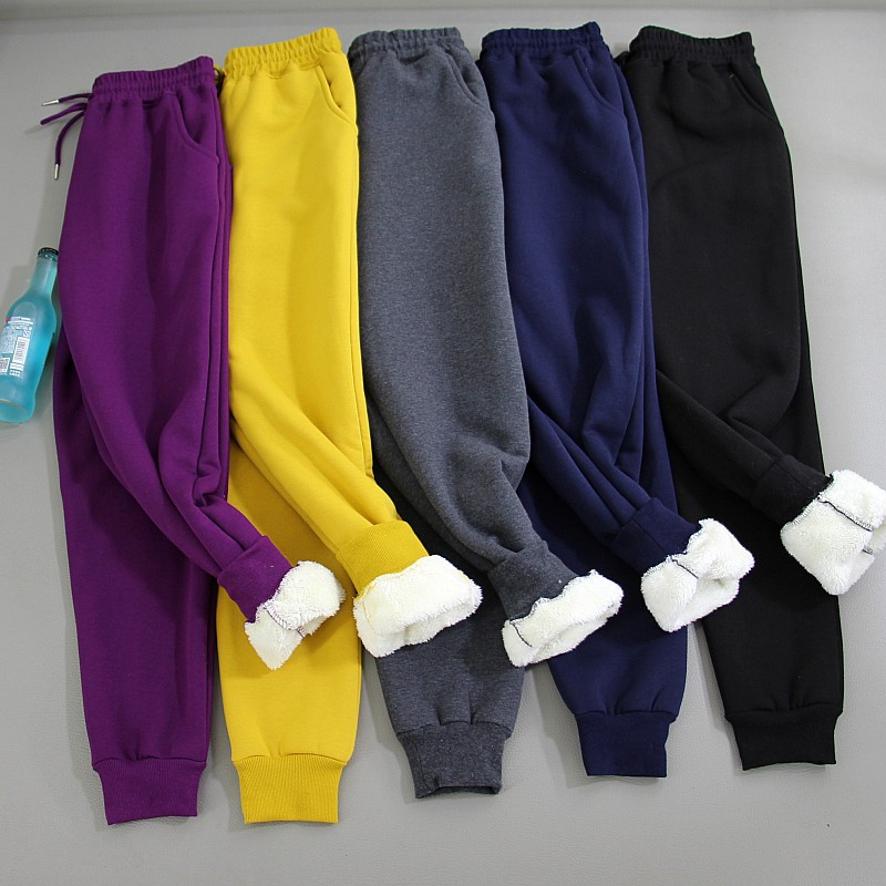 2019 Autumn Winter Yellow Lambs Wool Fleece Pants Women Pantalon Thick Sweatpants Warm Women Pants Casual Cotton Trousers PZ1113