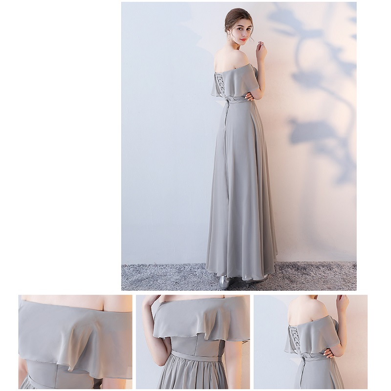 SOCCI Weekend Long Bridesmaid Dresses 2017 Sliver Sleeveless Sister Dress Grey Off shoulder Formal Wedding Party Gowns Robe de 17