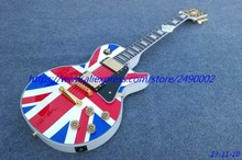 Best LP Electric guitar custom with UK flag,black pickguard,gold parts,solid white color back,high quality.Real photo shows