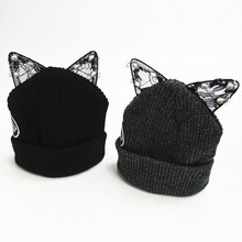 Hot Selling Style Fashion Women Lace Diamond Ear Beanie Hat Winter Fall Warm Cap
