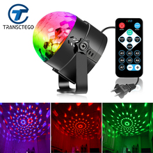 TRANSCTEGO 3W LED Stage Light DJ Party Lights Remote Control Sound Activated Mini Colorful Home Entertainment Disco Ball Strobe