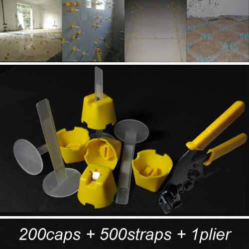 Tile leveling system spacer clip-make wall floor level construction tool-include 200caps 500straps 1plier=ZF-G200<br><br>Aliexpress