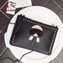 New Cartoon design personalized fashion Lafayette rivets envelope bag clutch purse handbags casual shoulder bag black & silver(China)