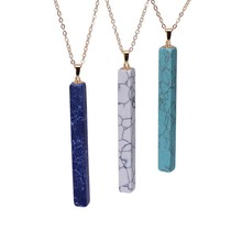 Natural Stone Long Pendant Gold Color Chains Black Marbled Howlite Maxi Necklace&Pendant For Women Or Man Christmas Gifts(China)