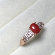 Classic Real Coral Rings for Women Solid 925 Silver Jewelry Semi Mounting Rose White Gold Color Best Gift for Her Femenino Rings(China)
