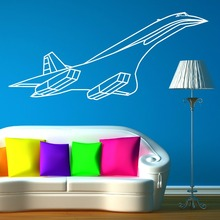 Environmental Curved Vinyl Concorde jet Aerpplane Wall Sticker For kids Boys Room Art Home decal Wall Mutal DIY Decoration D-25