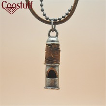 necklaces & pendants Whistle Cool Metal Pendant Genuine Leather Necklace Double Chain Free Shipping