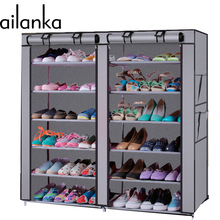 12 Grids 5 Colors 13 mm Steel Pipe Non-woven Shoe Cabinet With Curtain For Living Room Or Doorway H205(China)