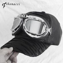 Fibonacci 2018 nueva novedad imitación cuero gorras de béisbol Aviator  gafas moda Snapbacks hombres mujeres sombrero 22c8c0ec533