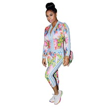 Spring Two Piece Set Women Sexy Tracksuit Print Zip Ensemble Femme Bomber Jacket long Sleeve+Leggings Pants Bodysuit Suit w1302
