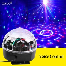 ZINUO6 Color Voice Control RGB Crystal Magic Ball Stage Lamp Disco DJ Light Party Lights Sound Control Christmas Laser Projector(China)