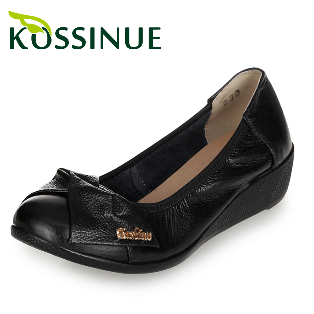 Women single shoes New spring bow genuine leather Elegant Fashion soft breathable sole shoes wedge platform casual work shoes<br><br>Aliexpress