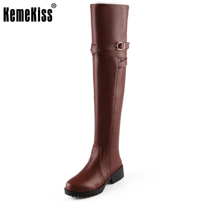 KemeKiss Size 31-43 Sexy Lady Flats Boots Metal Decoration Over The Knee Warm Round Toe Flat Boot Daily Work Slip On Botas Mujer<br>