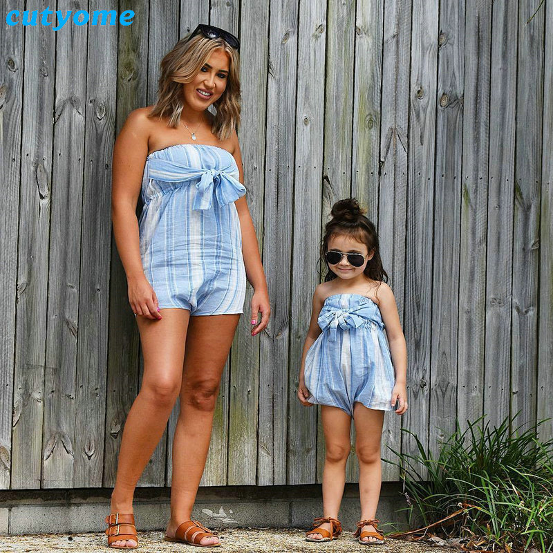 Mother Women And Daughter Girl Matching Clothes Striped Overalls Dress One-pieces Jumpsuits For Mommy And Me Family Outfits (25)