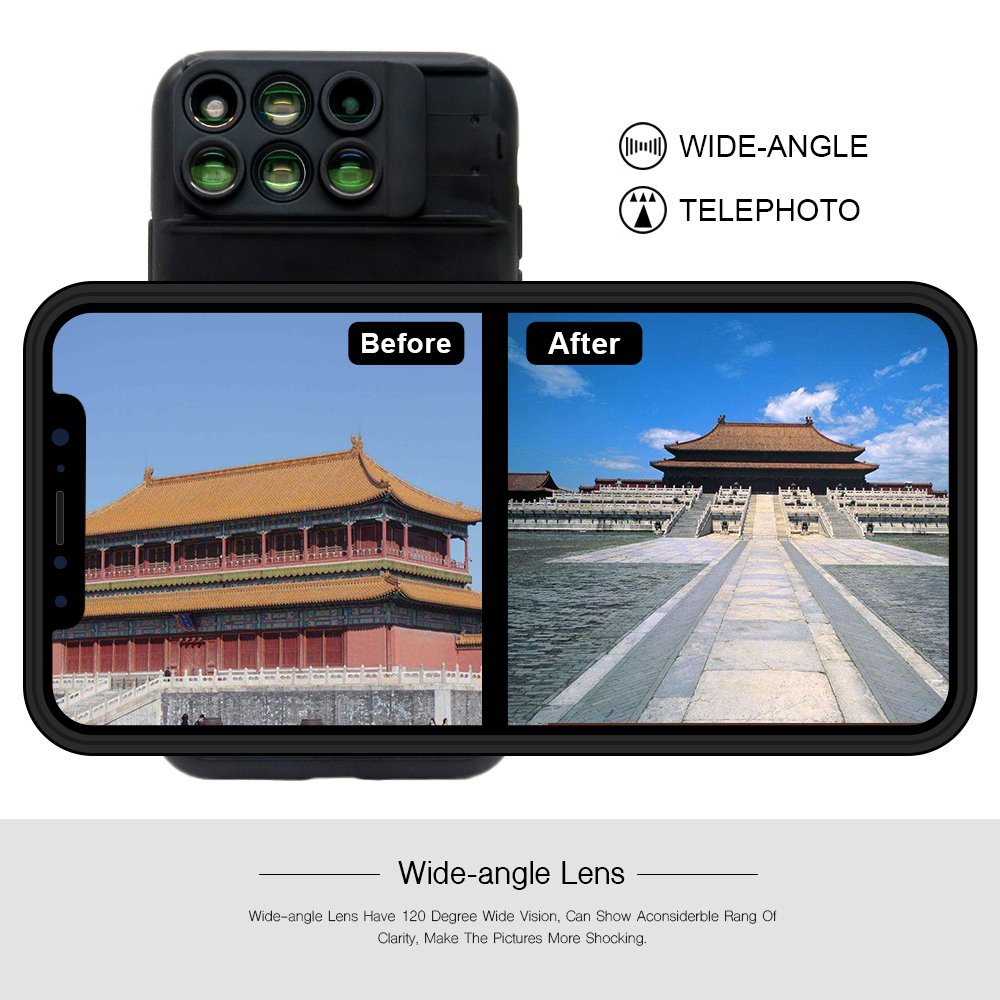 New For iPhone XS Max Dual Camera Lens 6 in 1 Fisheye Wide Angle Macro Lens For iPhone XS XR Xs Max Telescope Zoom Lenses 13