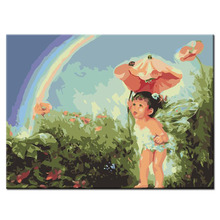 Diy painting by numbers happy child see the rainbow picture hand painted canvas oil paintings living room wall pictures(China)