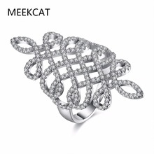 MEEKCAT Fashion silver color Chinese Knot Elegant Jewelry Ring Luxury Party Austrian Crystal Infinity Hollow New Gold Long Ring