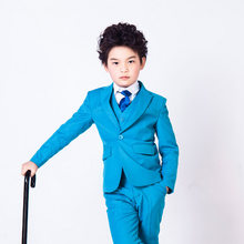 2016 fashion and elegant Honorable Lapel Kid Tuxedos Boy s Worsted Blue  Color Regular Special wedding Boys  Attire suits boy 058807443d86