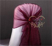 100pcs/lot Wedding Decorations Organza Ribbon Hood Chair Cap Sashes Dark Red Chair Hat